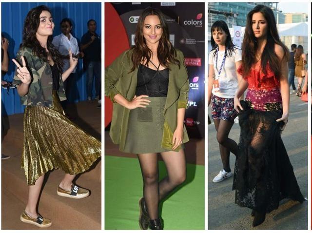Alia Bhatt, Sonakshi Sinha, Katrina Kaif and Ranveer Singh at the Global Citizens Coldplay concert in Mumbai on November 19.