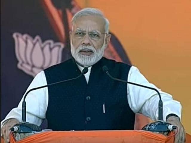 Prime Minister Narendra Modi at the BJP's Parivartan rally in Agra, Uttar Pradesh, on November 20, 2016.