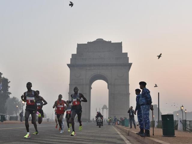Action during the Delhi Half Marathon 2016 in New Delhi on Sunday.