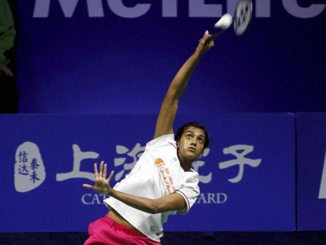 PV Sindhu returns a shot to China's Sun Yu during the final of women's singles in the China Open in Fuzhou .