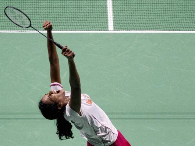 India's PV Sindhu celebrates after defeating China's Sun Yu in the final of the women's singles in the China Open in Fuzhou.