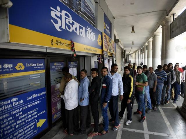 Long queues formed outside banks in India since the government's shock decision to withdraw the two largest denomination notes from circulation.