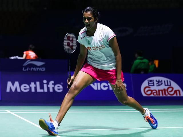 PV Sindhu beat Chinese Sun Yu 21-11, 17-21, 21-11 in 69 minutes.(VCG via Getty Images)
