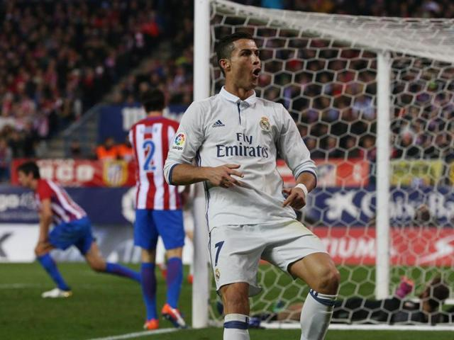 Playing as a centre-forward, Cristiano Ronaldo scored a hattrick against Atletico Madrid.