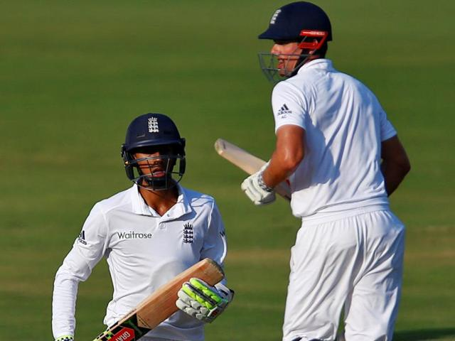 England's Haseeb Hameed (left) and Alastair Cook during their patient innings against India in Vizag on Sunday.