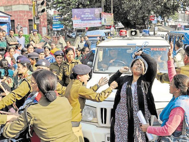 Members of Mahila Manch protesting at Clock Tower in Dehradun on November 18. The demand for declaring Gairsain as the  state capital has been a long-standing one.