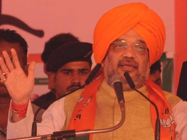 BJP national president Amit Shah while addressing booth workers convention at Jalandhar on Sunday.