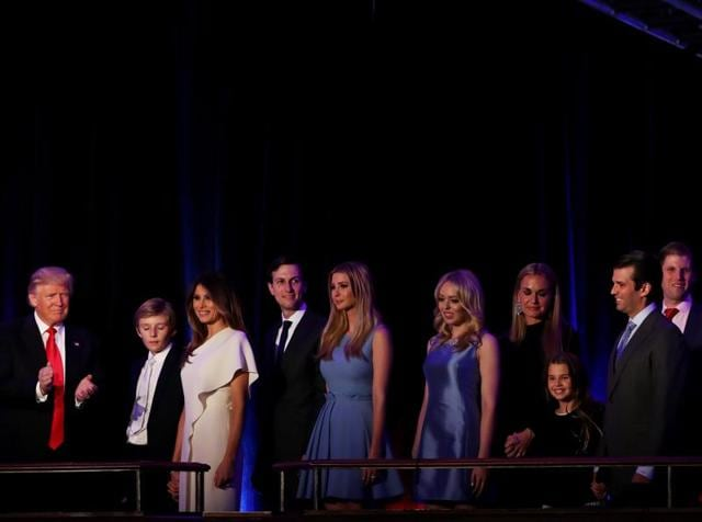 President-elect Donald Trump along with his family during his election night event on November 9.