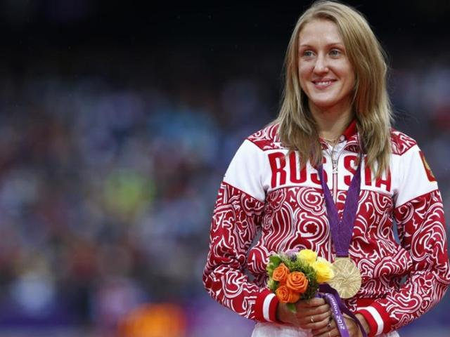 Russia's Yulia Zaripova won the women's 3000-meters steeplechase during at the 2012 London Olympics. Her medal was stripped after she tested positive for turinabol during retesting of samples by the IOC.