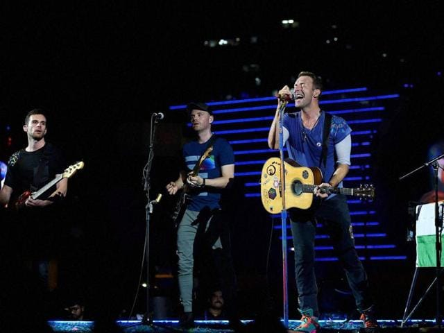 Chris Martin of British band Coldplay performs  during the Global Citizen concert in Mumbai on Saturday.