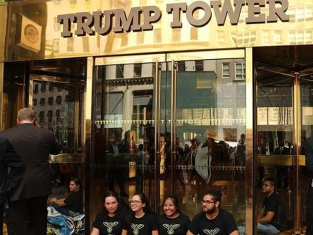 Demonstrators at the Trump International Hotel & Tower in Las Vegas, Nevada, United States, November 12, 2016