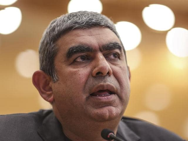 Infosys CEO Vishal Sikka speaks during a news conference at the company's headquarters in Bengaluru.