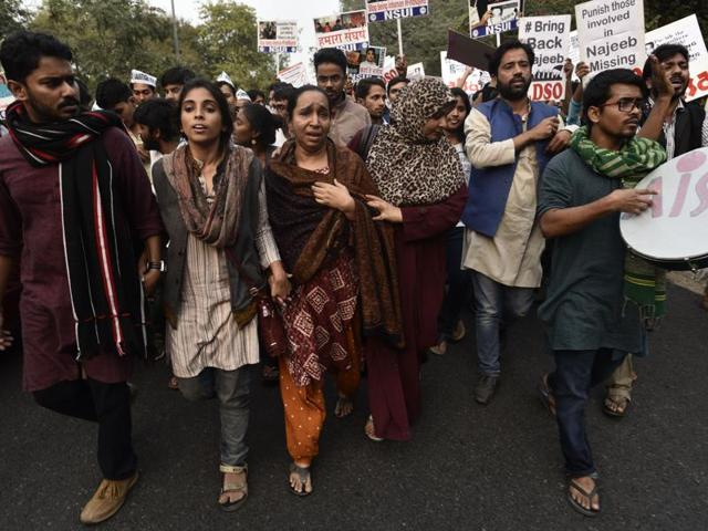 Najeeb's mother in a protest with JNU students at the JNU campus in New Delhi on November 15, 2016.