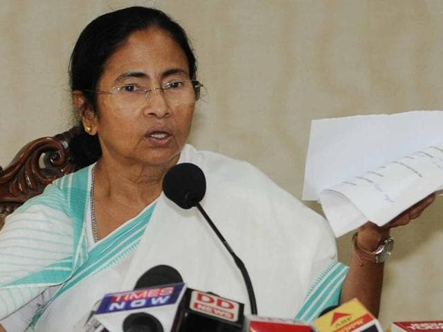 Chief minister Mamata Banerjee addresses a press conference in Kolkata on Monday.