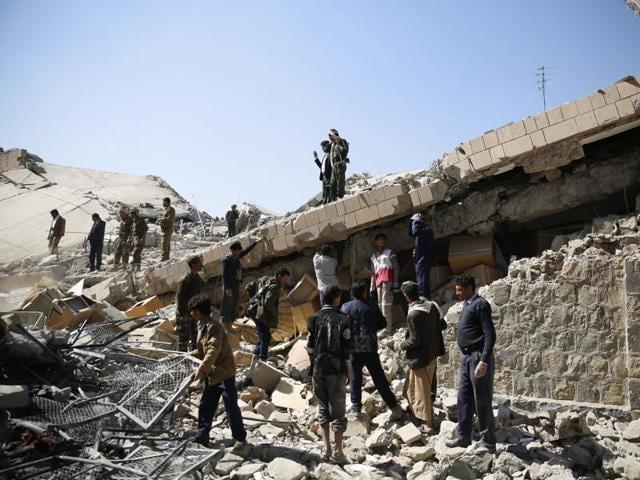 Yemen's dominant Houthi movement launched Katyusha rockets into Saudi Arabia on Sunday.