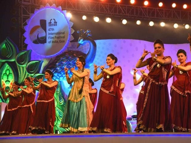 Artists perform during the inauguration of 47th International Film Festival in Panaji on November 20, 2016.