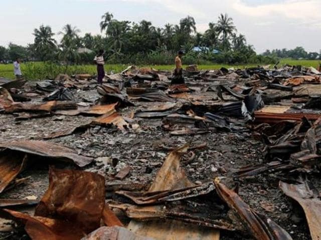 The ruins of a market which was set on fire are seen at a Rohingya village outside Maugndaw in Rakhine state, Myanmar October 27, 2016.