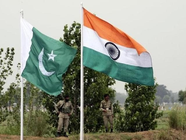 File picture of Pakistani and Indian national flags.