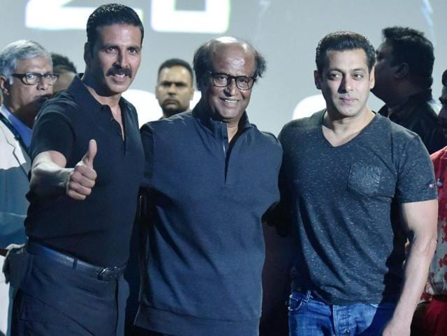 Superstar Rajinikanth along with Bollywood actors Akshay Kumar and Salman Khan at the launch of the first look of 2.o in Mumbai on Sunday.