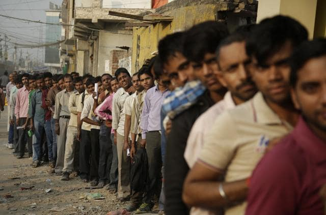 Long queues outside banks at Connaught Place in New Delhi. The government has taken to social media to dispel rumours around the demonetisation and reassure anxious citizens.