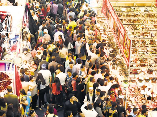 Visitors throng one of the  food courts during the 36th India International Trade Fair at Pragati Maidan in New Delhi on Sunday.