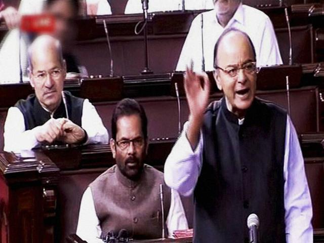 Finance minister Arun Jaitley speaks in the Rajya Sabha during the winter session of Parliament in New Delhi on Monday.
