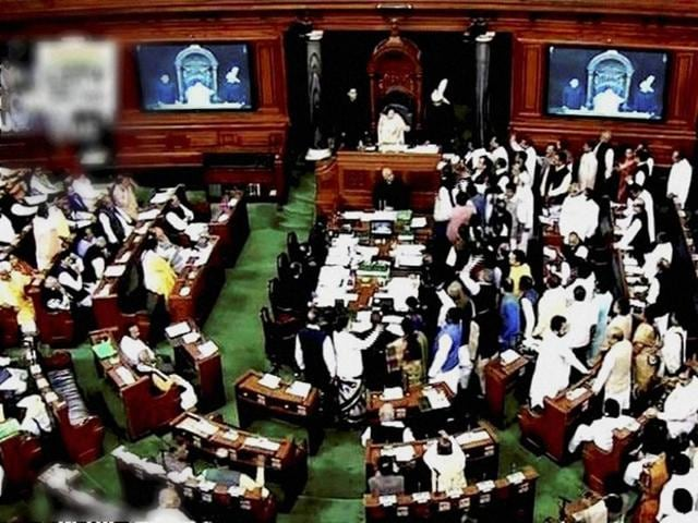 The joint opposition continued to shout slogans and raise banners saying that the common people have been suffering due to the demonetisation announcement by Prime Minister Narendra Modi on November 8.