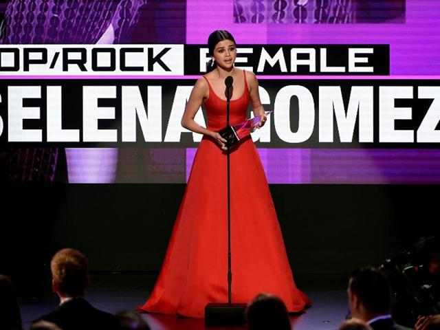 Selena Gomez accepts Favourite Pop/Rock Female Artist during the 2016 American Music Awards at Microsoft Theatre in Los Angeles, California, on November 20.