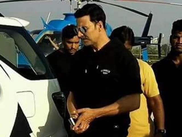 Akshay Kumar was in Nandgaon for the shooting of his movie 'Toilet – Ek Prem Katha' on Monday.