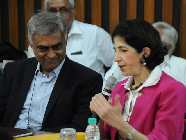 Director of TIFR Sandip Trivedi with the director general of  CERN Fabiola Gianotti at the Tata Institute of Fundamental Research.