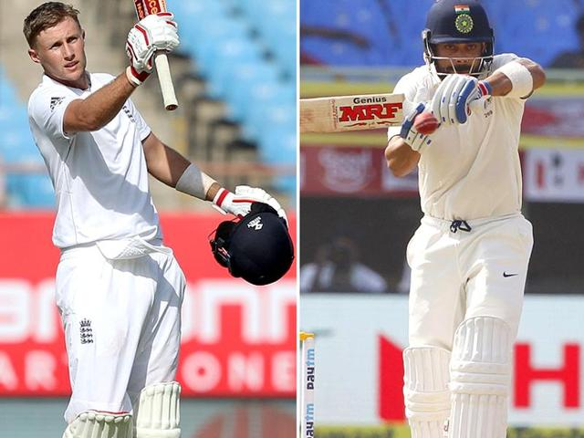 After the Vizag Test, Virat Kohli breached the 800-mark in the ICC rating points for the first time, moving to within 22 points of Joe Root (right).