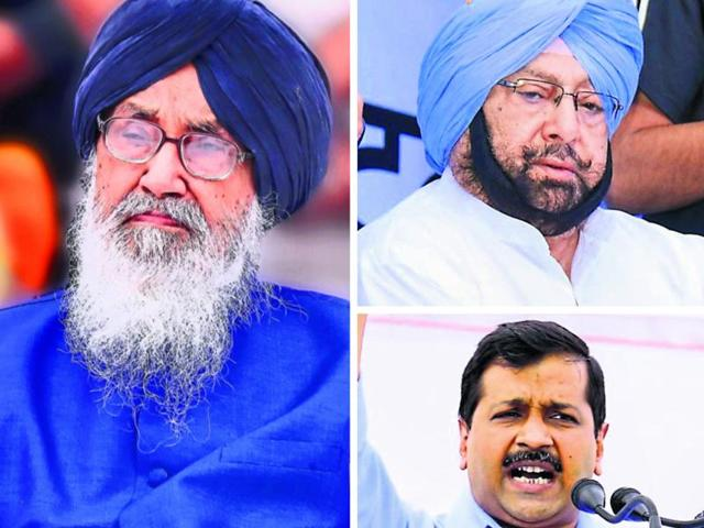 (From left) Punjab chief minister Parkash Singh Badal, Punjab Congress chief Captain Amarinder Singh and AAP chief Arvind Kejriwal.