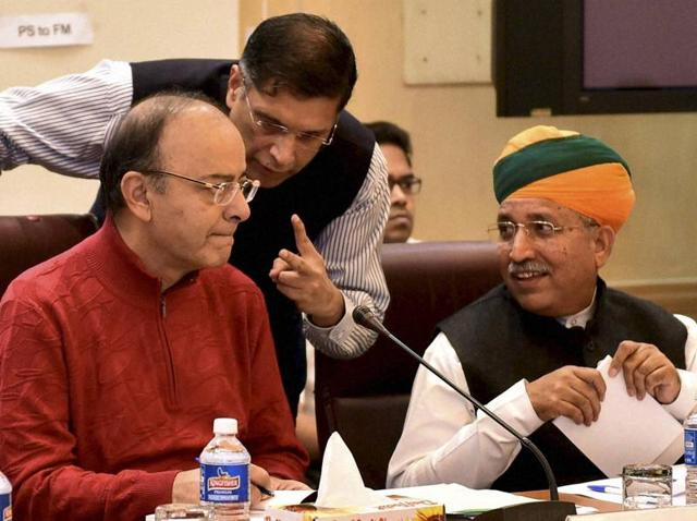 Union finance minister Arun Jaitley with MoS finance Arjun Ram Meghwal and chief economic adviser Arvind Subramanian at a pre-budget meeting, in New Delhi on Saturday.