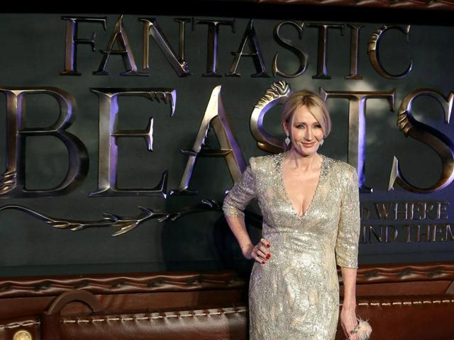 Writer JK Rowling poses as she arrives for the European premiere of the film Fantastic Beasts and Where to Find Them.