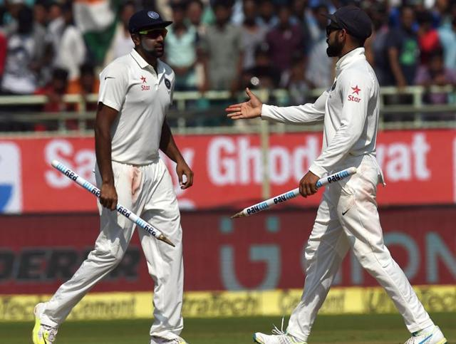 Indian spinners took control on the final day of the Test in Visakhapatnam with Ravichandran Ashwin leading the charge for captain Virat Kohli (right). While the Indian bowlers had support from the pitch in Vizag, Mohali could be a different ball game altogether.