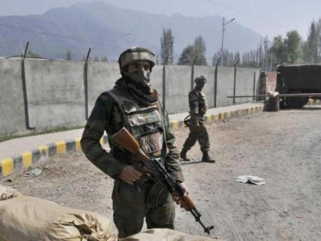 The army and the police in a joint operation had cordoned off the area to smoke out the two militants who were holed up and had opened fire.