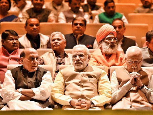 Prime Minister Narendra Modi, home minister Rajnath Singh, senior leader L K Advani during the BJP Parliamentary meeting at Parliamentary Annexe  in New Delhi.