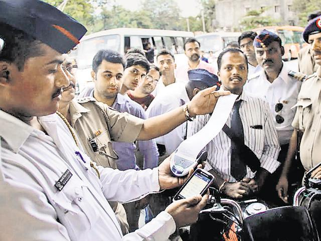 The traffic police will now have to feed the data in a hand-held device, instead of filling out slips manually.