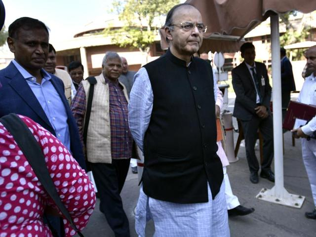 Finance minister Arun Jaitley after a BJP parliamentary party meeting in New Delhi on Tuesday.