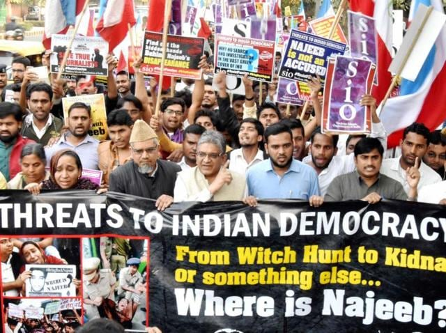 Members of Students Islamic Organisation of India carry out a protest march in support of missing JNU student Najeeb Ahmad, along with his family members, in New Delhi.