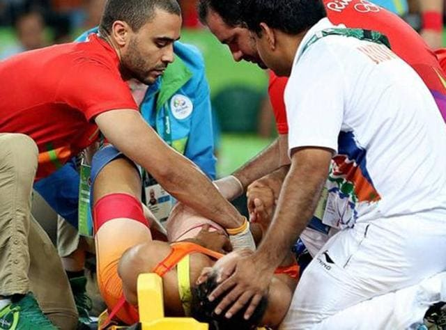 When Vinesh Phogat got injured during her women's freestyle 48 kg bout at the 2016 Olympics in Rio, she was treated on the mat by the local doctors while Pawandeep Singh (who is a radiologist and not a sports medicine specialist), Indian squad's chief medical officer, did not step in despite being present at the venue.(PTI)