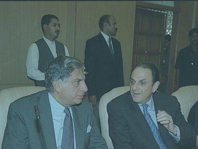 A file photo showing Ratan Tata with Nusli Wadia.