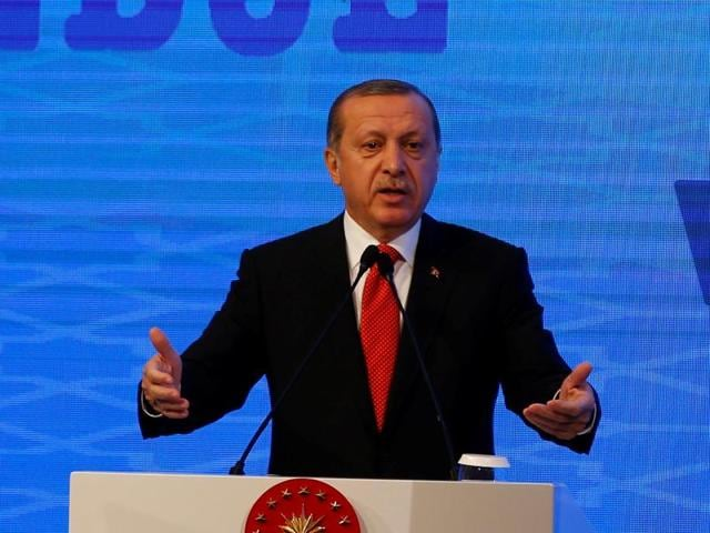 Turkish President Tayyip Erdogan makes a speech during the NATO Parliamentary Assembly 62nd Annual Session in Istanbul on November 21.