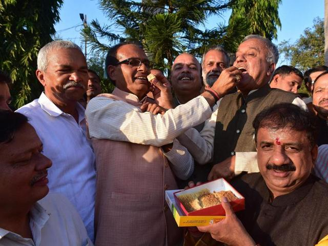 Chief minister Shivraj Singh Chouhan and BJP state president Nand Kumar Chauhan in Bhopal on Tuesday.