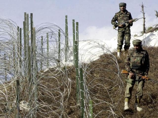 Indian Army soldiers on alert near the Line of Control near Jammu.