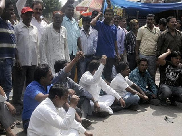 Sanitation workers of civic bodies on strike in east Delhi in July this year.  North and East Delhi Municipal Corporations have decided to utilise the  revenue collected as property tax and conversion charges to pay salaries to 10,000 employees.