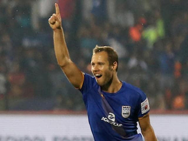 Krisztian Vadocz of Mumbai City FC celebrates after scoring against Chennaiyin FC at the Mumbai Football Arena in on Wednesday.