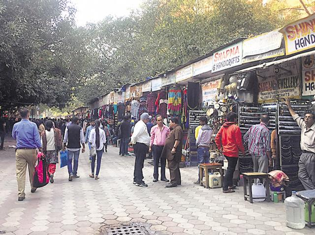 A view of Janpath Market on Tuesday.