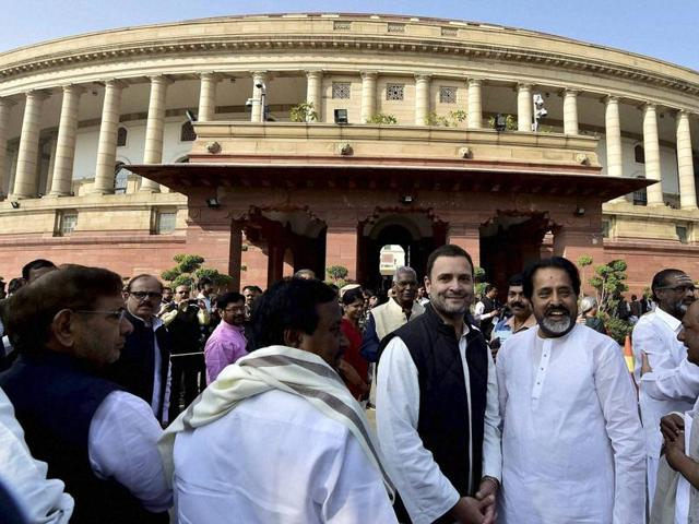 Congress vice president Rahul Gandhi and other MPs of Opposition parties during a protest outside Parliament against the government's demonetisation move.