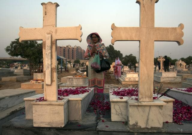 The illiterate Christian couple had been falsely accused of tossing out pages of the Koran along with the rubbish, desecrating the Muslim holy book. They were lynched and burned in a kiln after being falsely accused of blasphemy.